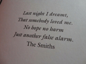 Alarm, Hope, and Another: Last night I dreamt,  That somebody loved me.  No hope no harm  Just another false alarm.  The Smiths