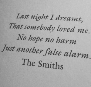 Alarm, Hope, and Another: Last night I dreamt,  That somebody loved me  No hope no harm  Just another false alarm.  The Smiths