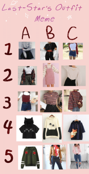 demi-star-arts:  Send me a Character + a letter and number! Id love to see if you guys use these! Tag me @last-star or tag it as #starsoutfit?: |Last-Star's Outfit  Meme   A B C  2  HUTT  3  4  5 demi-star-arts:  Send me a Character + a letter and number! Id love to see if you guys use these! Tag me @last-star or tag it as #starsoutfit?