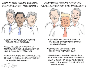 """elite liberal"" vs ""working class conservative"" presidents [OC]: LAST THREE ""ELITE L BERAL  COSMOPOLITAN"" PRESIDENTS  LAST THREE ""WHITE WORKING  CLASS, CONSERVATIVE"" PRESIDENTS  プ!<  . GEORGE HW: SON OF A SENATOR  AND ELLTE INVESTMENT BANKER  » JIMMY: AN ACTUAL PEANUT  FARMER FROM GEORGIA  LN NEW ENGLAND  » BILL: RALSED IN POVERTY IN  ARK ANSAS BY HLS WLDOWED MOTHER  AND ALCOHOLLC STEPFATHER  GEORGE W: LLTERALLY THE  SON OF THE PREVIOUS GuY  BARACK: RALSED BY A STRUGGLING  SINGLE MOTHER AND GRANDPARENTS  DONALD: MLLLLONALRE-AT-BLRTH  REALITY SHOW HOST WHO PROBABLY  OWNS A BUNCH OF DANG PONLES BUT  LN KANSAS AND HANALL  WON'T TALK ABOUT IT OR TELL US  THELR NAMES ""elite liberal"" vs ""working class conservative"" presidents [OC]"
