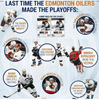 We couldn't resist - Here is another one... the world was a very different place the last time the Oilers made the Playoffs NHLDiscussion: LAST TIME THE  EDMONTON OILERS  MADE THE PLAYOFFS  MERS HAD  r VINNY WAS ON THE COVER  PlayStation2  THE DUCKS  WERE STILL  MIGHTY  NHL  06  NHL  06  MINATOR  WAS  OVECHKIN  AND CROSBY  MIIKKA  WERE ROOKIES  KIPRUSOFF  WON THE  VEZINA  MARIO  NHEALEr  LEMIEUX  WAS STILL  SKATING  8  JONATHAN  CHEECH00 WON  THE ROCKET  RICHARD We couldn't resist - Here is another one... the world was a very different place the last time the Oilers made the Playoffs NHLDiscussion