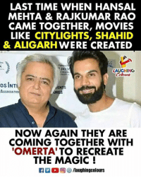 #RajkumarRao #HansalMehta  #Omerta: LAST TIME WHEN HANSAL  MEHTA & RAJKUMAR RAO  CAME TOGETHER, MOVIES  LIKE CITYLIGHTS, SHAHID  & ALIGARHWERE CREATED  LAUGHING  os INT  ASSOCIATIO  URES  NOW AGAIN THEY ARE  COMING TOGETHER WITH  OMERTA'TO RECREATE  THE MAGIC !  R M 2回8 /laughingcolours #RajkumarRao #HansalMehta  #Omerta