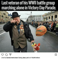Dang: Last veteran of his WWII battle group  marching alone in Victory Day Parade.  Liked by kawaii.meme team, funny clean owl and 10,640 others Dang
