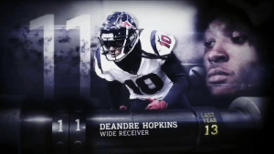Memes, Rivals, and Single: LAST  YEAR  1 1  DEANDRE HOPKINS  WIDE RECEIVER  13 Not a single drop in 2018 and a catch that rivals OBJ's famous snag. 😳  @HoustonTexans WR @DeAndreHopkins moved to No. 11 on the #NFLTop100! (via @NFLNetwork) https://t.co/WJBj599Jfd