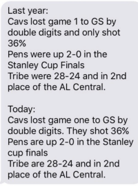 History is doomed to repeat itself...cavs in 7 https://t.co/9dcpFuxQZm: Last year:  Cavs lost game 1 to GS by  double digits and only shot  36%  Pens were up 2-0 in the  Stanley Cup Finals  Tribe were 28-24 and in 2nd  place of the AL Central.  Today:  Cavs lost game one to GS by  double digits. They shot 36%  Pens are up 2-0 in the Stanley  Cup finals  Tribe are 28-24 and in 2nd  place of the AL Central. History is doomed to repeat itself...cavs in 7 https://t.co/9dcpFuxQZm