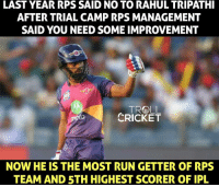 Memes, Run, and Troll: LAST YEAR RPS SAID NO TO RAHUL TRIPATHI  AFTER TRIAL CAMP RPS MANAGEMENT  SAID YOU NEED SOME IMPROVEMENT  TROLL  CRICKET  NOW HE IS THE MOST RUN GETTER OF RPS  TEAM AND STH HIGHEST SCORER OF IPL Rahul Tripathi for you.