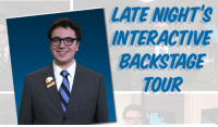 """Click, Jimmy Fallon, and Target: LATE NIGHT'S  INTERACTIVE  BACKSTAGE  TOUR  LA <p>We&rsquo;re ridiculously, ridiculously excited to announce the <strong>Late Night with Jimmy Fallon Interactive Backstage Tour</strong>!</p> <p>Follow Booner the Page through Studio 6B, the home of <em>Late Night with Jimmy Fallon</em>, plus the production offices and a whooole lot more. You decide which way to go, choose your own adventure style. Also keep an eye out for the T-Shirt Yeti and many more surprises.</p> <p><a href=""""http://www.latenightwithjimmyfallon.com/youtube/"""" target=""""_blank"""">Click here</a> or on the photo above to get started!</p>"""