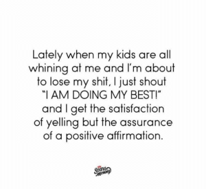 "Dank, Instagram, and Shit: Lately when my kids are all  whining at me and I'm about  to lose my shit, I just shout  ""I AM DOING MY BESTI""  and I get the satisfaction  of yelling but the assurance  of a positive affirmation  canj So that's pretty much a win-win.  (via Scary Mommy's Instagram: https://bit.ly/2D3xyrT)"