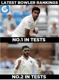 Ashwin Ravi and Ravindra Jadeja retained their top spots in the Test rankings.  More details here: https://goo.gl/Sw7VY6: LATEST BOWLER RANKINGS  No.1 IN TESTS  Star  NO.2 IN TESTS Ashwin Ravi and Ravindra Jadeja retained their top spots in the Test rankings.  More details here: https://goo.gl/Sw7VY6