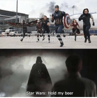 Beer, Memes, and Star Wars: lau  Marvel The airport fight scene  was one of the best action sequences of the year,  no one will be able to top this  Star Wars: Hold my beer 🤣 I really can't decide who had the best.