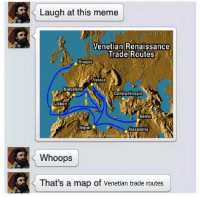 renaissance: Laugh at this meme  Venetian Renaissance  Trade Routes  Bruges  Venice  Barcelona  Constantinople  Lisbon  Beirut  Tripoli  Alexandria  Whoops  That's a map of Venetian trade routes
