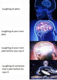 Say It, Jokes, and Own: Laughing at jokes  Laughing at your own  joke  Laughing at your owrn  joke before you say it  Laughing at someone  else's joke before he  says it