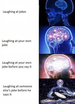 Dank, Memes, and Target: Laughing at jokes  Laughing at your own  joke  Laughing at your owrn  joke before you say it  Laughing at someone  else's joke before he  says it I am ..haha..atha.. level 3 right nowhaha. by sailboat642 MORE MEMES