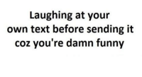 damn funny: Laughing at your  own text before sending it  coz you're damn funny
