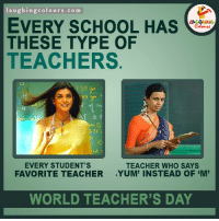 Dear Teacher, Thanks for making us what we are today. Happy Teacher's Day ..  :) (Y): laughing colours.com  EVERY SCHOOL HAS  THESE TYPE OF  TEACHERS  EVERY STUDENT'S  TEACHER WHO SAYS  FAVORITE TEACHER  YUM' INSTEAD OF EM  WORLD TEACHER'S DAY Dear Teacher, Thanks for making us what we are today. Happy Teacher's Day ..  :) (Y)