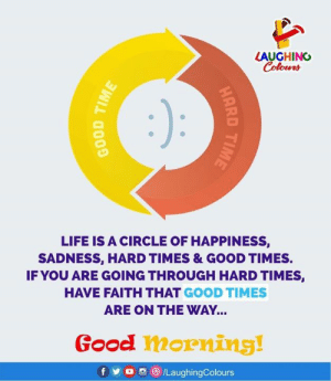 GOOD MORNING 🙂: LAUGHING  Colours  LIFE IS A CIRCLE OF HAPPINESS,  SADNESS, HARD TIMES & GOOD TIMES.  IF YOU ARE GOING THROUGH HARD TIMES,  HAVE FAITH THAT GOOD TIMES  ARE ON THE WAY...  Good morning!  fy  /LaughingColours  HARD TIME  BOOD TIME GOOD MORNING 🙂