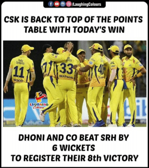 #CSKvSRH #IPL: ()/LaughingColours  f  CSK IS BACK TO TOP OF THE POINTS  TABLE WITH TODAY'S WIN  ts  Cements  WATSON  WOOD  LAUGHING  DHONI AND CO BEAT SRH BY  6 WICKETS  TO REGISTER THEIR 8th VICTORY #CSKvSRH #IPL