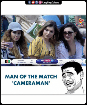 Run, Match, and Indianpeoplefacebook: /LaughingColours  f  LAUGHING  PAK v AFG 169-6 P2 37  IMAD  2-399  SHINWARI  11  NAJIBULLAH  21 31  RUN RATE 4.57  MAN OF THE MATCH  'CAMERAMAN' Bhai kaise kar lete ho?? #cwc2019