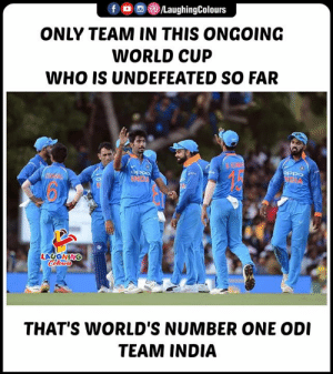 #INDvWI #CWC19: LaughingColours  fD  ONLY TEAM IN THIS ONGOING  WORLD CUP  WHO IS UNDEFEATED SO FAR  BKMAY  oPpo  UND  LAUGHING  Cileurs  THAT'S WORLD'S NUMBER ONE ODI  TEAM INDIA #INDvWI #CWC19