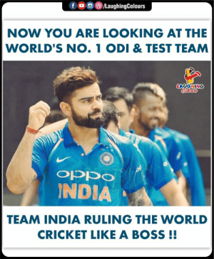 #ICC #TeamIndia 🇮🇳 #IndianCricketTeam #CWC19: /LaughingColours  NOW YOU ARE LOOKING AT THE  WORLD'S NO. 1 ODI & TEST TEAM  LAUGHING  Celeurs  of  INDIA  oddo  TEAM INDIA RULING THE WORLD  CRICKET LIKE A BOSS !! #ICC #TeamIndia 🇮🇳 #IndianCricketTeam #CWC19