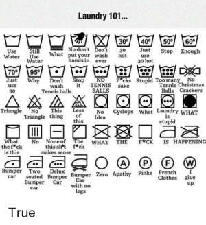 Christmas, Clothes, and Laundry: Laundry 101...  30°  No don't Don't  30  What put your wash hot  60  400  Just  50°  Still  Use  Water  Stop Enough  Use  Water  use  hands in ever  30 hot  DickI  700  95  Just  Why  Stupid Too many No  Tennis Christmas  NO  Don't Stop  Fcks  TENNIS sake  BALLS  it  wash  use  Balls Crackers  Tennis balls  30  Less  of  this  Triangle No  No Cyclops What Laundry WHAT  Idea  This  Triangle thing  is  stupid  What  the f*ck  is this  No None of The WHAT THE  this sht f*ck  makes sense  F*CK IS HAPPENING  (A)  P  W  Bumper Two  Delux  seated Bumper Bumper Zero Apathy Pinks French  Clothes give  up  car  Car  with no  legs  Bumper Car  car  True Laundry 101