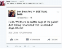 """Just asking for a mate... 😂: laura arestacks Jan 10  just asking for a friend who is scared of dogs"""" LOOOL  Ben Stratford  BESTIVAL  2016  1 December.  Hello. Will there be sniffer dogs at the gates?  Just asking for a friend who is scared of  dogs. Cheers  256 Likes 6 Comments  I Like  Comment  Share  478  V 713 Just asking for a mate... 😂"""