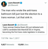 America, Beautiful, and Memes: Laura Bassett  @LEBassett  The man who wrote the anti-trans  bathroom bill just lost the election to a  trans woman. Let that sink in.  Laura Bassett @LEBassett  Trans woman Danica Roem (D) just defeated anti-  LGBTQ candidate Bob Marshall (R) in Virginia,  becoming the first trans state legislator in America.  7:07 PM Nov 7, 2017  9,827 Retweets  15,850 Likes 💁‍♀️TRANS IS BEAUTIFUL WINNING 🙌🏾 . . DanicaRoem trans transgender virginia transwoman representation win transisbeautiful RESIST