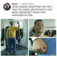 Arthur, Google, and John Legend: laura @daisyrdley  JOHN LEGEND ACCEPTING THE FACT  THAT HE LOOKS LIKE ARTHUR IS THE  MOST IMPORTANT THING THAT  HAPPENED IN 2018  XY  Google I hate to say this but, he's a.... Legend. Could y'all do me a favor and tag @johnlegend I want him to see it