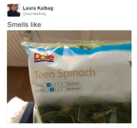 Strong, Spinach, and Teen: Laura Kalbag  @laurakalbag  Smells like  Doie  Teen Spinach  MILDIMILD  2 3 4 5 STARK/STRONG  SPAD TENDER  1(2)  3 4 5 KRISPIG/CRISPY