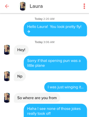 Her Bio said she worked for American Airlines: Laura  Today 2:20 AM  Hello Laura! You look pretty fly!  Today 3:06 AM  Нey!  Sorry if that opening pun was a  little plane  Np  I was just winging it...  So where are you from  Haha I see none of those jokes  really took off Her Bio said she worked for American Airlines