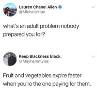 Facts, Memes, and Black: Lauren Chanel Allen  @MichelleHux  what's an adult problem nobody  prepared you for?  Keep Blackness Black.  @Mayhemmyles  Fruit and vegetables expire faster  when you're the one paying for them Facts