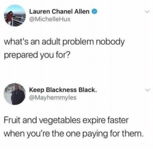 Black, Chanel, and Dank Memes: Lauren Chanel Allen  @MichelleHux  what's an adult problem nobody  prepared you for?  Keep Blackness Black.  @Mayhemmyles  Fruit and vegetables expire faster  when you're the one paying for them