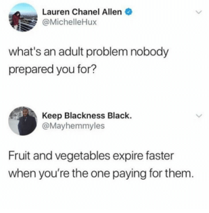 me irl by Robin-Hoodie MORE MEMES: Lauren Chanel Allen  @MichelleHux  what's an adult problem nobody  prepared you for?  Keep Blackness Black.  @Mayhemmyles  Fruit and vegetables expire faster  when you're the one paying for them me irl by Robin-Hoodie MORE MEMES