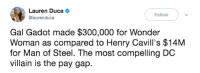 Wonder Woman, Evil, and Villain: Lauren Duca  @laurenduca  Follow  Gal Gadot made $300,000 for Wonder  Woman as compared to Henry Cavill's $14M  for Man of Steel. The most compelling DC  villain is the pay gap. we all need to band together to defeat this evil.