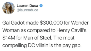Money, Movies, and News: Lauren Duca Q  @laurenduca  Gal Gadot made $300,000 for Wonder  Woman as compared to Henry Cavill's  $14M for Man of Steel. The most  compellingDC villain is the pay gap. bob-belcher:Yeah, seriously.