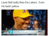 "savage😂 (via bballjabber-Twitter) nba nbamemes lakers lavarball: Lavar Ball really likes the Lakers. Even  his teeth yellow.  SDRAFT17  Jamal Crawford  JCrossover  15  Triple b's, Big Baller Brand"". Lavar is a prophet  #CELTICS  ROUND 1  1. 76ers Markelle Fultz PG/Washington  2. LAKERS Lon savage😂 (via bballjabber-Twitter) nba nbamemes lakers lavarball"