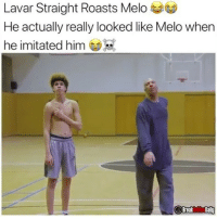 Friends, Funny, and Memes: Lavar Straight Roasts Melo  He actually really looked like Melo when  he imitated him  Breaka Tag 3 friends that would find this funny! 😂
