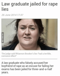 """Crime, Feminism, and Funny: Law graduate jailed for rape  lies  26 June 2014 17:37  PA  The judge said Rhiannon Brooker's lies """"had a terrible,  corrosive effect""""  A law graduate who falsely accused her  boyfriend of rape as an excuse for failing her  exams has been jailed for three-and-a-half  years <p><a class=""""tumblr_blog"""" href=""""http://poppypicklesticks.tumblr.com/post/90358534004/anti-feminism-pro-equality-some-good-true"""">poppypicklesticks</a>:</p> <blockquote> <p><a class=""""tumblr_blog"""" href=""""http://anti-feminism-pro-equality.tumblr.com/post/90238529586/some-good-true-justice"""">anti-feminism-pro-equality</a>:</p> <blockquote> <p>some good true justice!</p> </blockquote> <p>the worst part? Feminists are campaigning on her behalf saying that jailing her will stop rape victims from coming forward</p> <p>Funny because that line of thought didn't stop her in her psychotic vindictive attempt to destroy another human being</p> <p>Perjury is a serious crime, if i remember correctly</p> </blockquote> <p>Oh but didn&rsquo;t you know that women totes can&rsquo;t ever lie about being raped? If a woman says something, it&rsquo;s automatically true because of the patriarchy.</p>"""