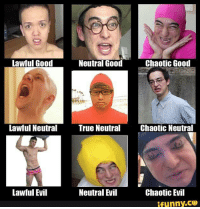 Chaotic Evil: Lawful Good  Chaotic Good  Neutral Good  Lawful Neutral True Neutral  Chaotic Neutral  Neutral Evil  Lawful Evil  Chaotic Evil  ifunny.CO