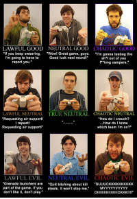 "The Game, True, and Wow: LAWFUL GOOD  ""If you keep swearing,  I'm going to have to  report you.  CHAOTIC GOOD  ""l'm gonna teabag the  sh't out of you  f""king campers.""  NEUTRAL GOOD  ""Wow! Great game, guys.  Good luck next roundl""  LAWFUL NEUTRAL  Requesting air support!  l repeat  Requesting air support!""  CHAOTIC NEUTRAL  ""How do I crouch?  ...How do I know  which team I'm on?""  TRUE NEUTRAL  CHAOTIC EVIL  ""Grenade launchers are ""Quit bitching about k""SUUUCKKKKKKKKKK  DIICKKK!II  LAWFUL EVIL  NEUTRAL EVIL  part of the game. If you steals. It won't stop me.  don't like it, don't play. <p>Gamer alignment chart.</p>"
