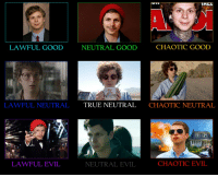 me irl: LAWFUL GOOD  LAWFUL NEUTRAL  LAWFUL EVIL  CHAOTIC GooD  NEUTRAL GOOD  TRUE NEUTRAL CHAOTIC NEUTRAL  CHAOTIC EVIL  NEUTRAL EVIL me irl