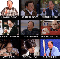 The many flavors of George Costanza: LAWFUL GOOD  NEUTRAL Go  LAWFUL NEUTRAL  TRUE NEUTRAL CHAOTIC NEUTRAL  LD OBRIEN  an  LAWFUL EVIL  NEUTRAL EVIL  CHAOTIC EVIL The many flavors of George Costanza