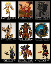World of Warcraft Class Alignment Chart (Pre-WOTLK): LAWFUL GOOD NEUTRAL GOOD CHAOTIC GOOD  A nice balance between  fire and water. And arcane.  Using rage to destroy monsters and keep them away from  By the light!  your friends. Also, two two-handed weapons.  Hanler  LAWFULNEUTRAL TRUE NEUTRAL CHAOTIC NEUTRAL  I let my pet do the talking. Then might hit you with an  l heal  people. It's what do.  Caster, Tank, Melee, Healer. Whatever works.  arrow, or a trap, or my sword. I haven't decided yet  LAWFUL EVIL NEUTRAL EVIL CHAOTIC EVIL  Demons make the greatest minions.  Summons a totem. Elemental buff, Hits you with a spell.  Rogues do it from behind.  Hits you with an enchanted weapon, Can heal self if he  wants to, but has yet to actually take damage. World of Warcraft Class Alignment Chart (Pre-WOTLK)