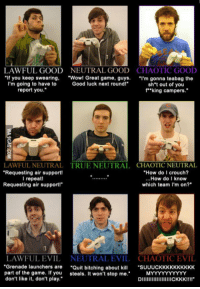 "The Game, True, and Tumblr: LAWFUL GOOD  NEUTRAL GOOD  CHAOTIC GOOD  ""If you keep swearing. ""Wo! Great game, guys. ""I'm gonna teabag the  Good luck next roundl""  I'm going to have to  report you.  sh't out of you  f""""king campers.""  LAWFUL NEUTRAL  Requesting air support!  l repeat  Requesting air support!  CHAOTIC NEUTRAL  ""How do I crouch?  ...How do I know  which team I'm on?  TRUE NEUTRAL  NEUTRAL EVIL CHAOTIC EVIL  ""Grenade launchers are ""Quit bitching abu SUUUCKKKKKKKKKK  DIICKKKIIII""  LAWFUL EVIL  part of the game. If you steals. It won't stop me.  don't like it, don't play."" <p><a href=""http://rofl-pictures.tumblr.com/post/153412692809/i-like-to-think-im-more-of-chaotic-good-what"" class=""tumblr_blog"">rofl-pictures</a>:</p><blockquote><p>I like to think I'm more of Chaotic Good. What about the rest of you?</p></blockquote>"