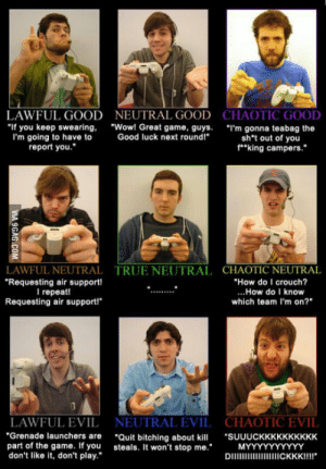 "The Game, True, and Tumblr: LAWFUL GOOD  NEUTRAL GOOD  CHAOTIC GOOD  ""If you keep swearing. ""Wo! Great game, guys. ""I'm gonna teabag the  Good luck next roundl""  I'm going to have to  report you.  sh't out of you  f""""king campers.""  LAWFUL NEUTRAL  Requesting air support!  l repeat  Requesting air support!  TRUE NEUTRAL  CHAOTIC NEUTRAL  ""How do I crouch?  ...How do I know  which team I'm on?  NEUTRAL EVIL CHAOTIC EVIL  ""Grenade launchers are ""Quit bitching abu SUUUCKKKKKKKKKK  DIICKKKIIII""  LAWFUL EVIL  part of the game. If you steals. It won't stop me.  don't like it, don't play."" rofl-pictures:I like to think I'm more of Chaotic Good. What about the rest of you?"