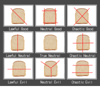 opossumbutch:  a-punk-named-television:   tearezicryrope: My brother and I were making sandwiches and we decided on an alignment chart for how sandwiches are cut. How do you feel about this   i will reap the teeth that the Lord sowed in your foolish mouth : Lawful Good  Neutral Good  Chaotic Good  Lawful Neutral  True Neutral  Chaotic Neutral  Lawful Evil  Neutral Evi  Chaotic Evil opossumbutch:  a-punk-named-television:   tearezicryrope: My brother and I were making sandwiches and we decided on an alignment chart for how sandwiches are cut. How do you feel about this   i will reap the teeth that the Lord sowed in your foolish mouth