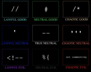 I know a chaotic evil: LAWFUL GOOD  NEUTRAL GOOD  CHAOTIC GOOD  LAWFUL NEUTRAL  TRUE NEUTRAL  CHAOTIC NEUTRAL  not commenting  LAWFUL EVIL  NEUTRAL EVIL  CHAOTIC EVIL I know a chaotic evil