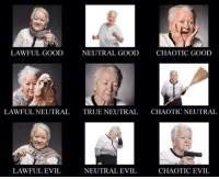 Chaotic Evil: LAWFUL GOOD  NEUTRAL GOOD  CHAOTIC GOOD  LAWFULNEUTRAL TRUE NEUTRAL  CHAOTIC NEUTRAL  LAWFUL EVIL  NEUTRAL EVIL  CHAOTIC EVIL