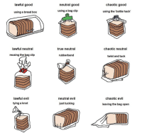 True, Good, and Evil: lawful good  neutral good  chaotic good  using a bread box  using a bag clip  using the 'bottle hack  0  lawful neutral  true neutral  chaotic neutral  reusing the bag clip  rubberband  twist and tuck  lawful evil  neutral evil  chaotic evil  tying a knoft  just tucking  leaving the bag open