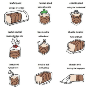 True, Tumblr, and Blog: lawful good  neutral good  chaotic good  using a bread box  using a bag clip  using the 'bottle hack  0  lawful neutral  true neutral  chaotic neutral  reusing the bag clip  rubberband  twist and tuck  lawful evil  tying a knot  neutral evil  chaotic evil  just tucking  leaving the bag open memehumor:  Who really does lawful good tho?